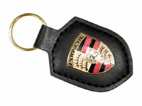 WAP 050 090 12 - Key Fob -- Black Leather with Porsche Enameled Crest