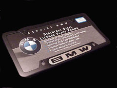 82 12 0 010 398 - BMW Black Stainless Steel License Plate Frame with Silver BMW