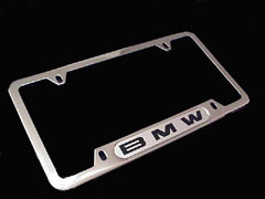 82 12 0 010 395 - BMW Polished Stainless Steel License Plate Frame with Black BMW